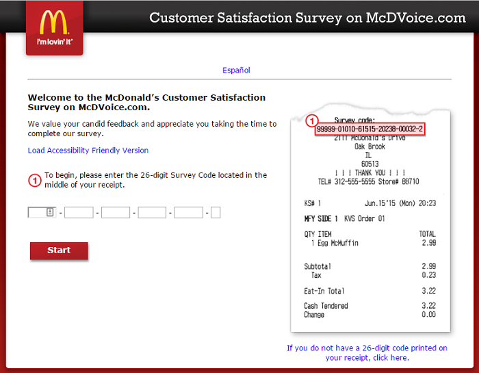 www.mcdvoice.com McDonalds Survey