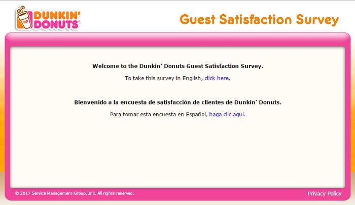www.telldunkin.com survey homepage