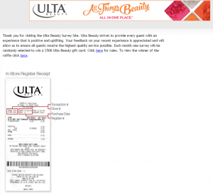 www.survey.ulta.com Ulta Beauty Customer Satisfaction Survey