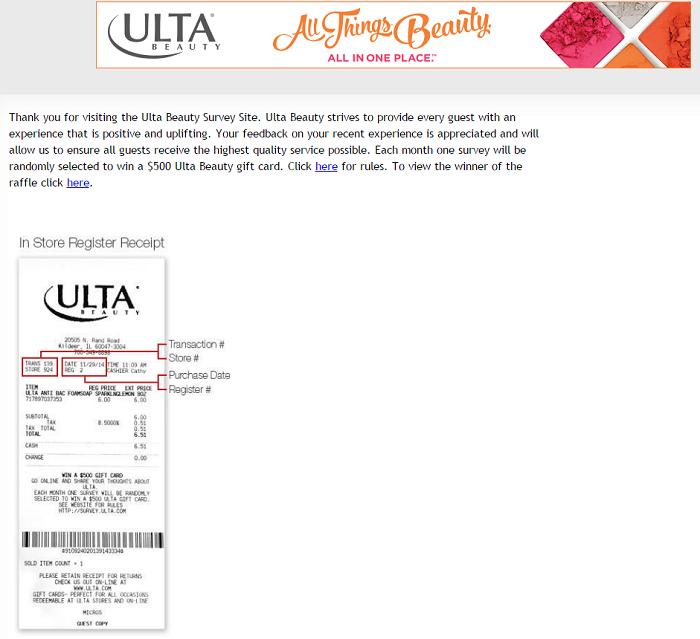 survey.ulta survey homepage