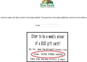 www.farmfreshlistens.com Farm Fresh Survey