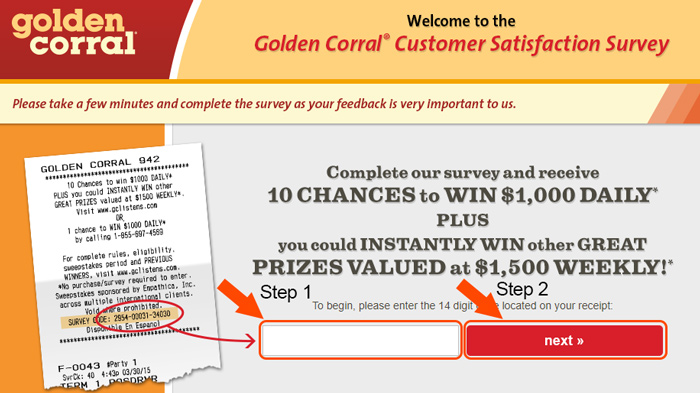 golden corral survey receipt information