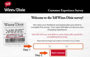 winn dixie survey code