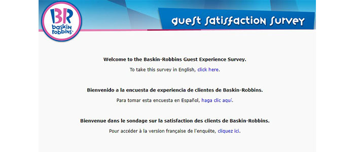 Baskin Robbins Survey Language Select